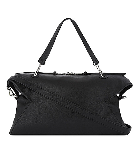 SANDRO Yza grained leather shoulder bag (Black