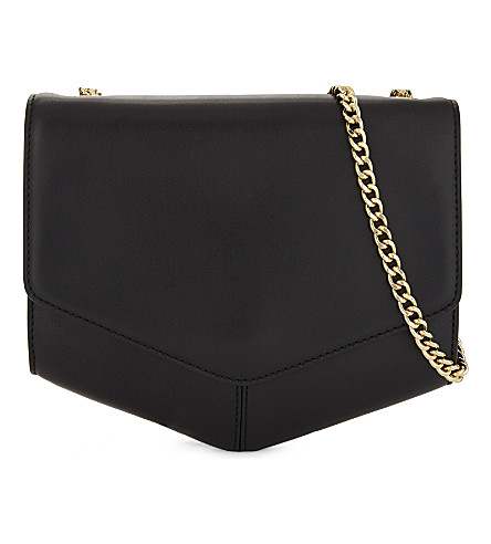 SANDRO Lou medium leather cross-body bag (Black