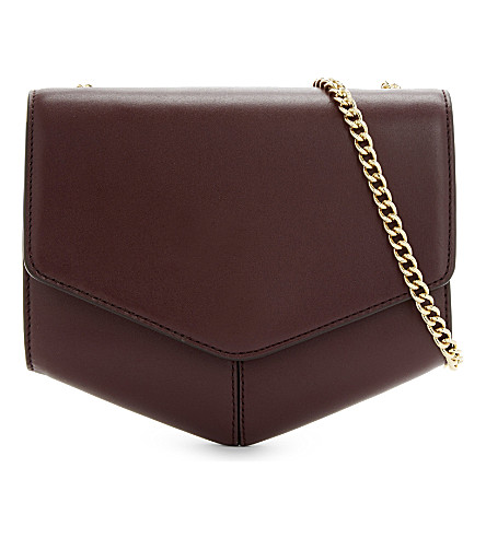 SANDRO Lou leather shoulder bag (Burgundy