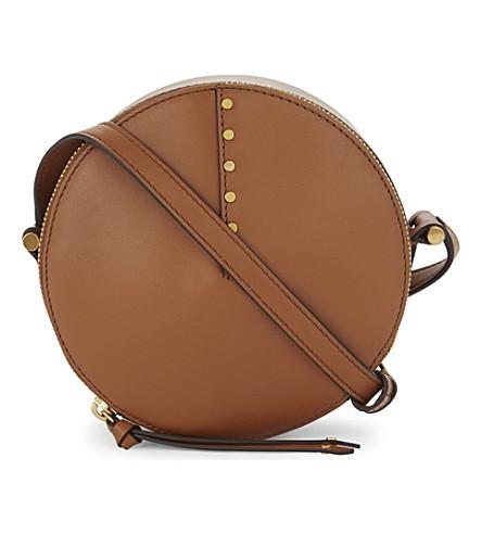 SANDRO Bonnie leather cross-body bag (Light brown