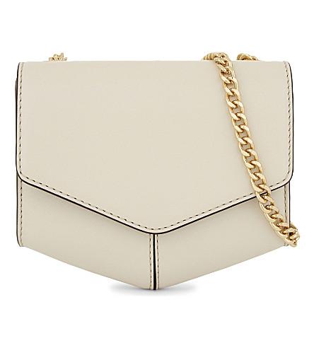 SANDRO Lou leather envelope clutch (Ecru