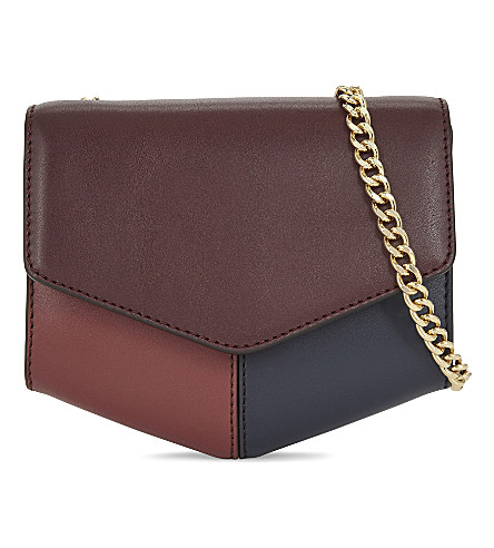 SANDRO Lou petite leather cross-body bag (Burgundy
