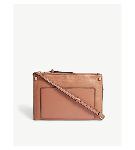 SANDRO Bianca leather cross-body bag (Brown