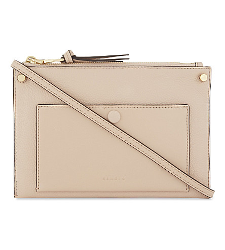 SANDRO Bianca leather cross-body bag (Light+pink