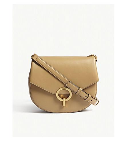 SANDRO Pepita leather cross-body bag (Brown