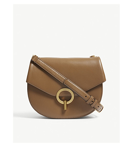 SANDRO Pepita leather cross-body bag (Alezan