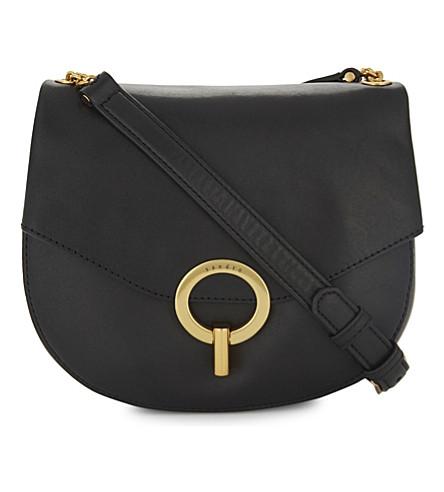 SANDRO Pepita leather cross-body bag (Black