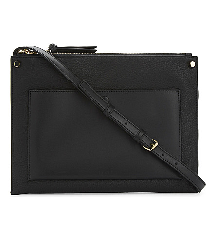 SANDRO Bianca leather shoulder bag (Black