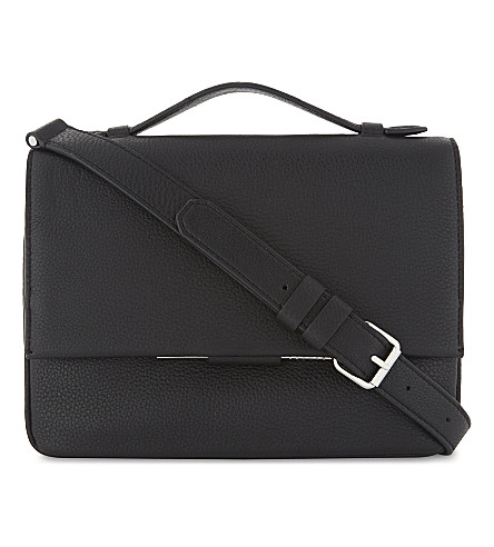 SANDRO Bianca Cartable leather shoulder bag (Black