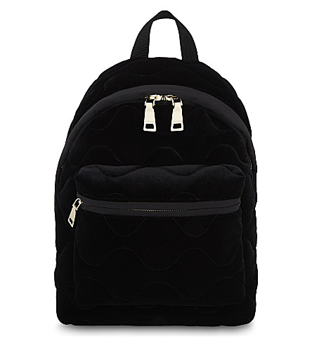 SANDRO Avril quilted velvet backpack (Black