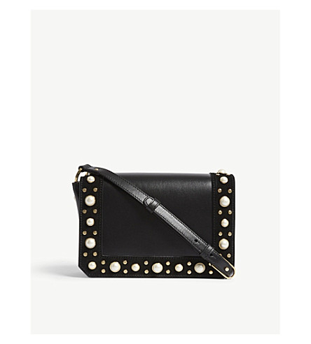 SANDRO Pearly leather cross-body bag (Black