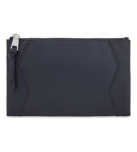SANDRO Small leather pouch (Navy+blue