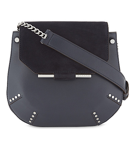 SANDRO Bonnie leather and suede cross-body bag (Dark+navy
