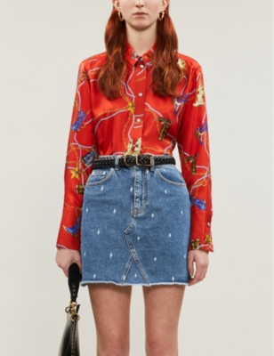 Graphic-print silk-satin shirt