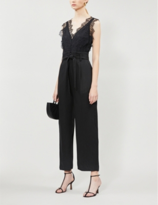 Floral lace and gabardine jumpsuit