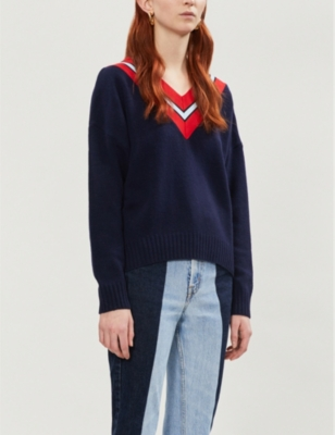 Contrast striped-panel wool-blend jumper