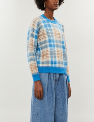 Check-print relaxed-fit stretch-knit jumper