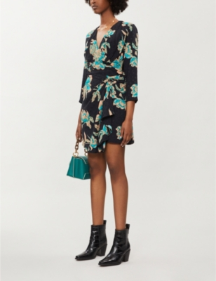 Printed wrap-over satin mini-dress