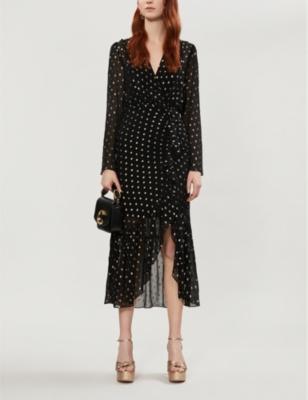 Loona polka dot-pattern woven midi dress