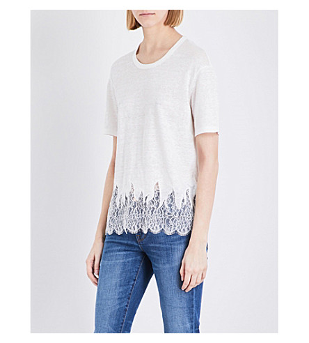 SANDRO Lace-embroidered hem linen T-shirt (Ecru
