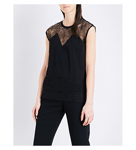 SANDRO Lace-insert knitted T-shirt (Black