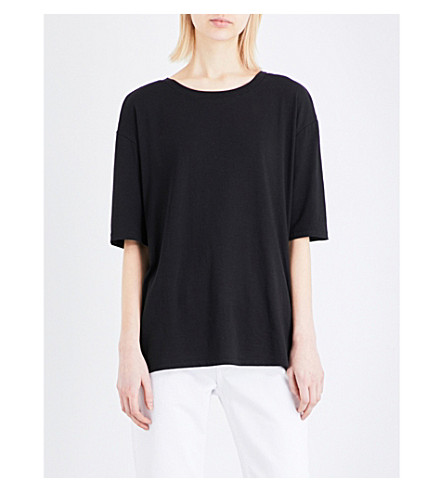 SANDRO Bead-embellished jersey T-shirt (Black