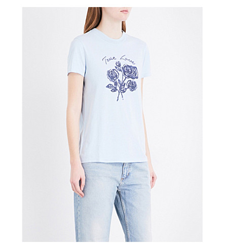 SANDRO True Love-print jersey T-shirt (Sky+blue