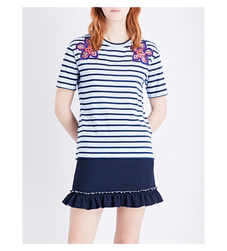 SANDRO Flower-embroidered cotton T-shirt (Blue
