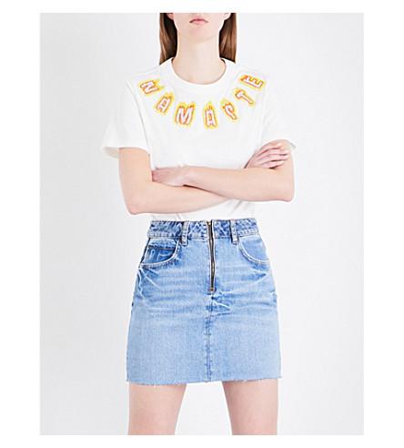 SANDRO Namaste-embellished cotton-jersey T-shirt (Ecru