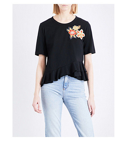SANDRO Ruffled cotton-jersey T-shirt (Black