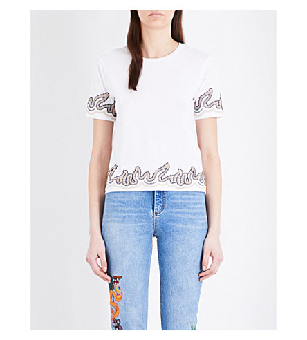 SANDRO Lace-embellished cotton-jersey T-shirt (White