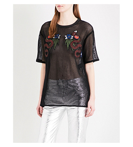 SANDRO Patch-embroidered cotton T-shirt (Black