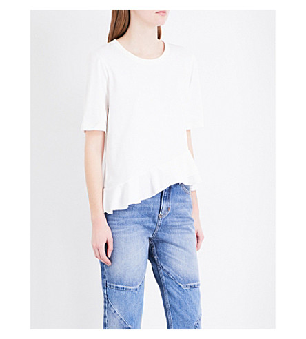 SANDRO Asymmetric cotton-jersey T-shirt (White