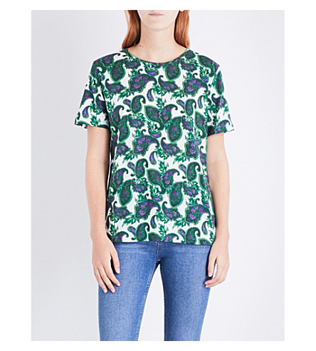 SANDRO Floral and paisley-print cotton top (Moss+green