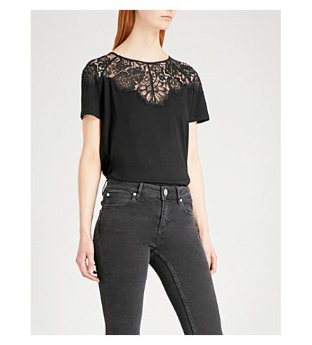 SANDRO Floral-lace cotton-jersey T-shirt (Black