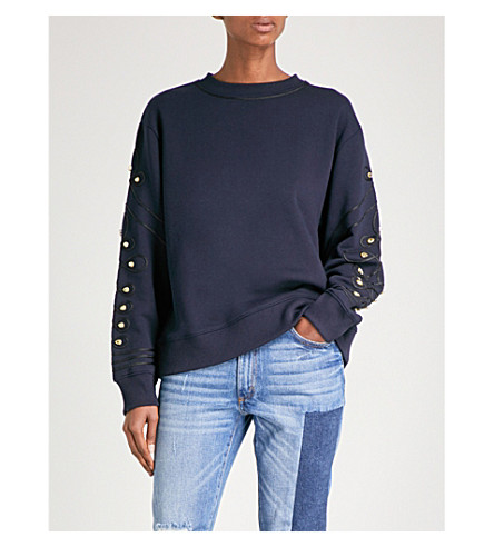 SANDRO Embroidered cotton-blend sweatshirt (Navy+blue