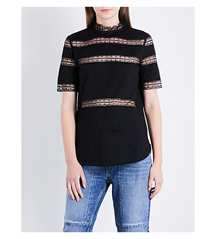 SANDRO Floral lace-trim cotton-jersey top (Black