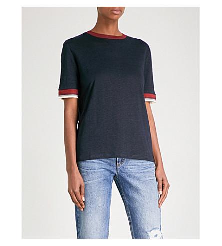 SANDRO Oversized linen T-shirt (Navy+blue