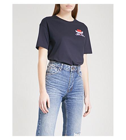 SANDRO Tattoo patch appliqué cotton-jersey T-shirt (Navy+blue