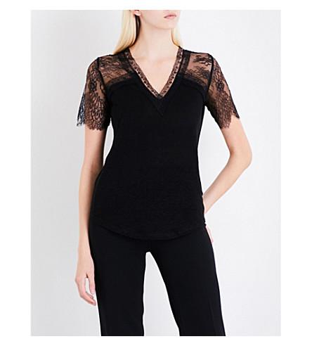 SANDRO Floral-lace linen T-shirt (Black