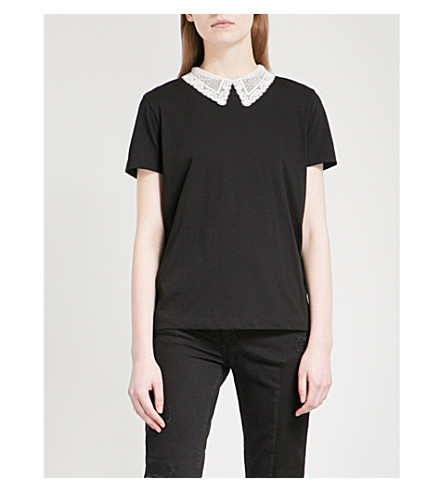 SANDRO Lace-trimmed cotton-jersey T-shirt (Black