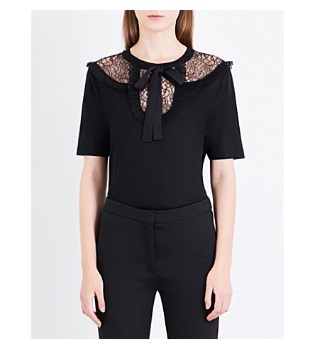 SANDRO Floral-lace jersey T-shirt (Black