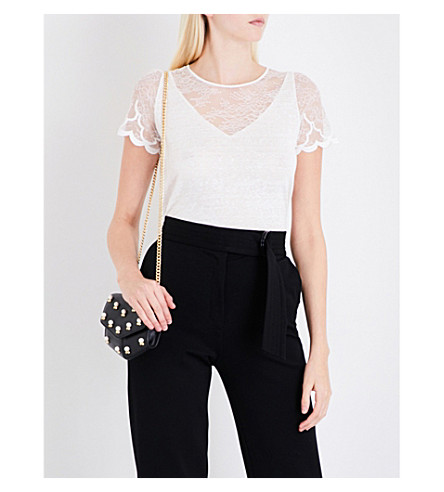 SANDRO Embroidered scalloped cuffs linen top (Ecru