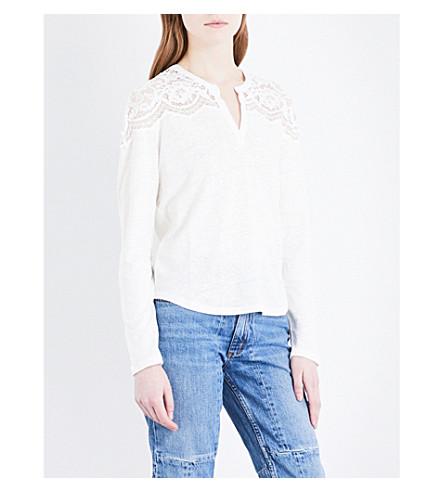 SANDRO Floral-lace linen top (Ecru
