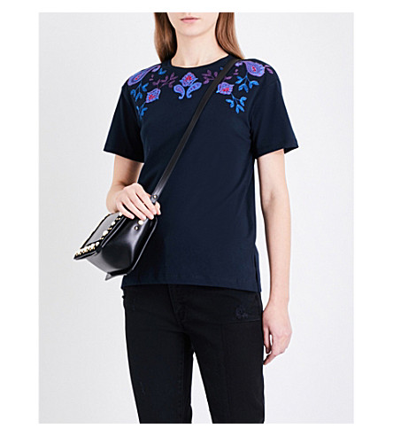SANDRO Floral-embroidered cotton-jersey T-shirt (Navy+blue