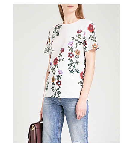 SANDRO Floral-print cotton-jersey T-shirt (Ecru