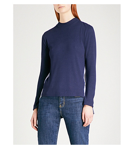 SANDRO Contrast-panel striped knitted jumper (Navy+blue
