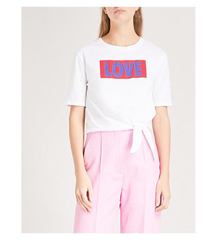 SANDRO Love print cotton-jersey T-shirt (Ecru