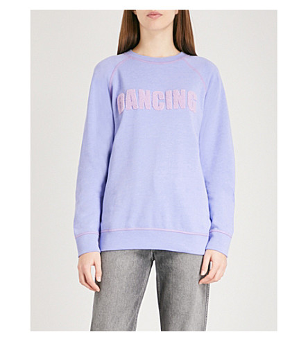 SANDRO Dancing cotton-blend sweatshirt (Mauve