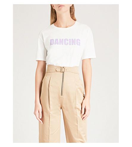 SANDRO Dancing slogan-print cotton T-shirt (Ecru